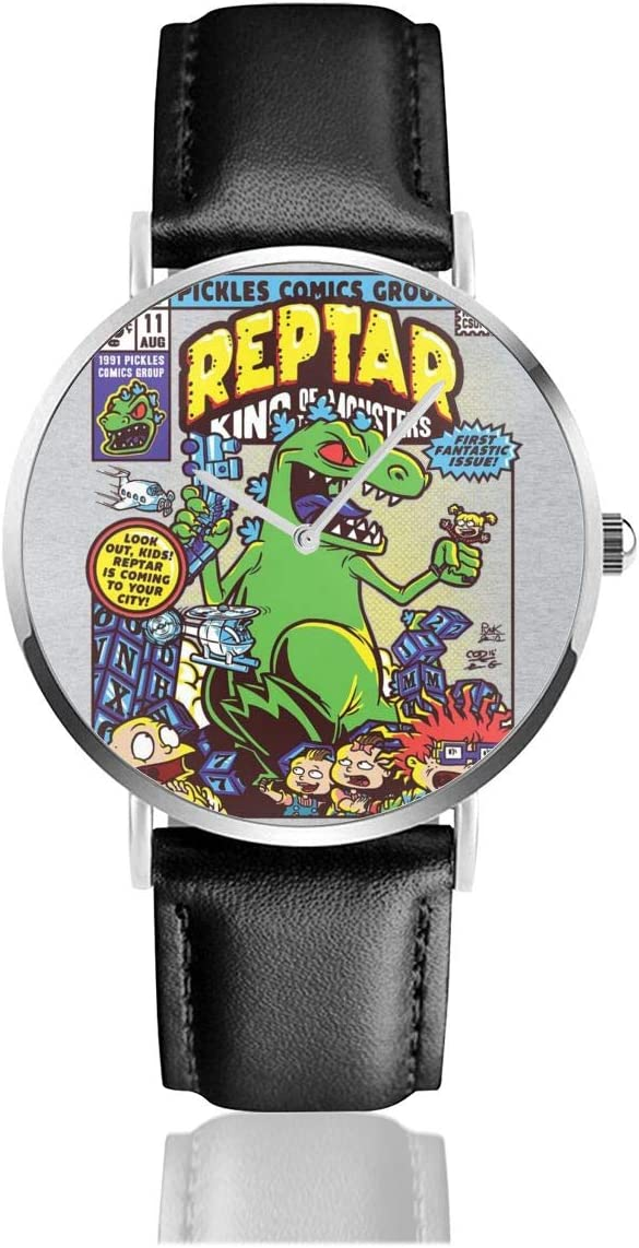 Unisex Business Casual Reptar King of Monsters Rugrats Watches Quartz Leather Watch with Black Leather Band for Men Women Young Collection Gift