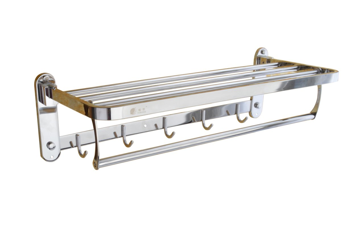 Honean Wall Mounted Towel Rack, Bathroom Shelf with Towel Bar and Hanger Hooks, 304 Stainless Steel, 24 inches for Home/Hotel (Polish)