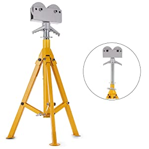 Mophorn 0.5-12 inch Roller Pipe Stand Adjustable Height 28-52 inch 6800lb Pipe Jack Stands Folding Portable High Folding Pipe Stand with Roller Head Fold A Trailer Jacks