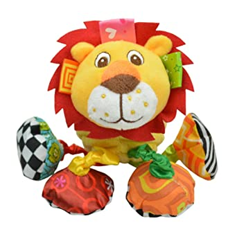 Infant Baby Soft Animal Vibrating Car Seat Stroller Plush Toys Hanging Bell Rattles Doll Lion