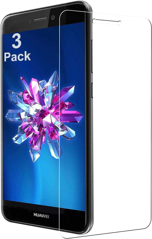Cristal Templado para Huawei P8 Lite 2017, 9H Dureza Vidrio Templado, Protector de Pantalla, [3 Piezas] Sin Burbujas, Anti-Rasguños, Anti-Dactilares HD Vidrio Templado para P8 Lite 2017 - Transparente