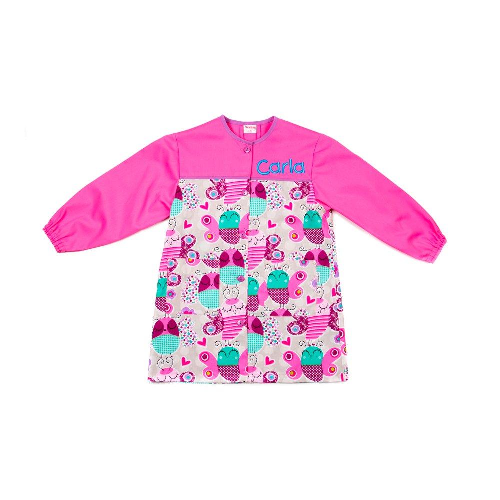 Dyneke Bata escolar botón rosa Papillons (personalización opcional gratuita con nombre bordado)(Talla 5): Amazon.es: Ropa y accesorios