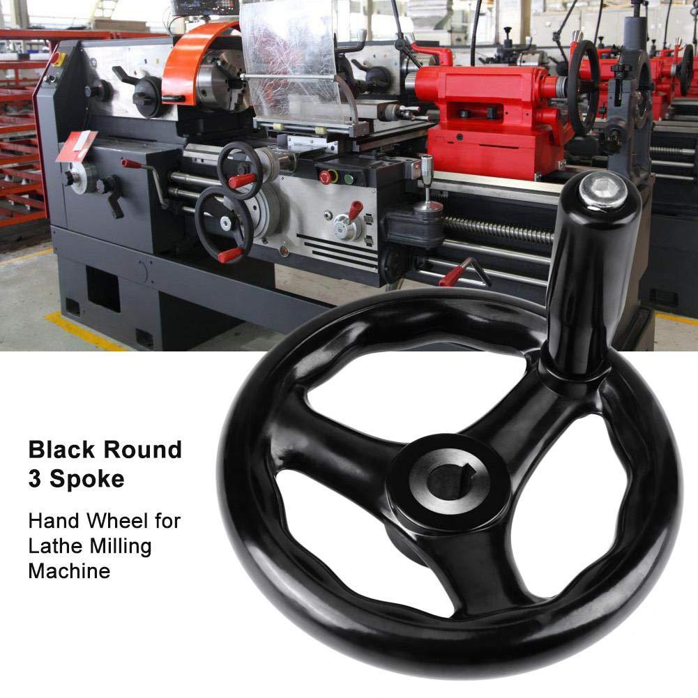 Black Round 3-Spoke Hand Wheel for Lathe Milling Grinder Removable Handle sale