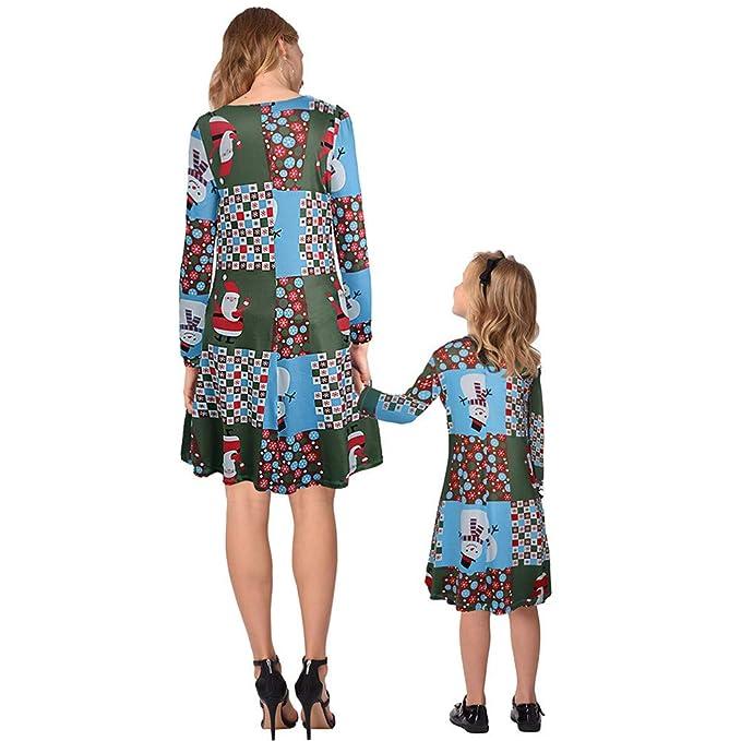 Cvbndfe Mamá y yo Vestidos Navidad Ropa Familiar a Juego ...