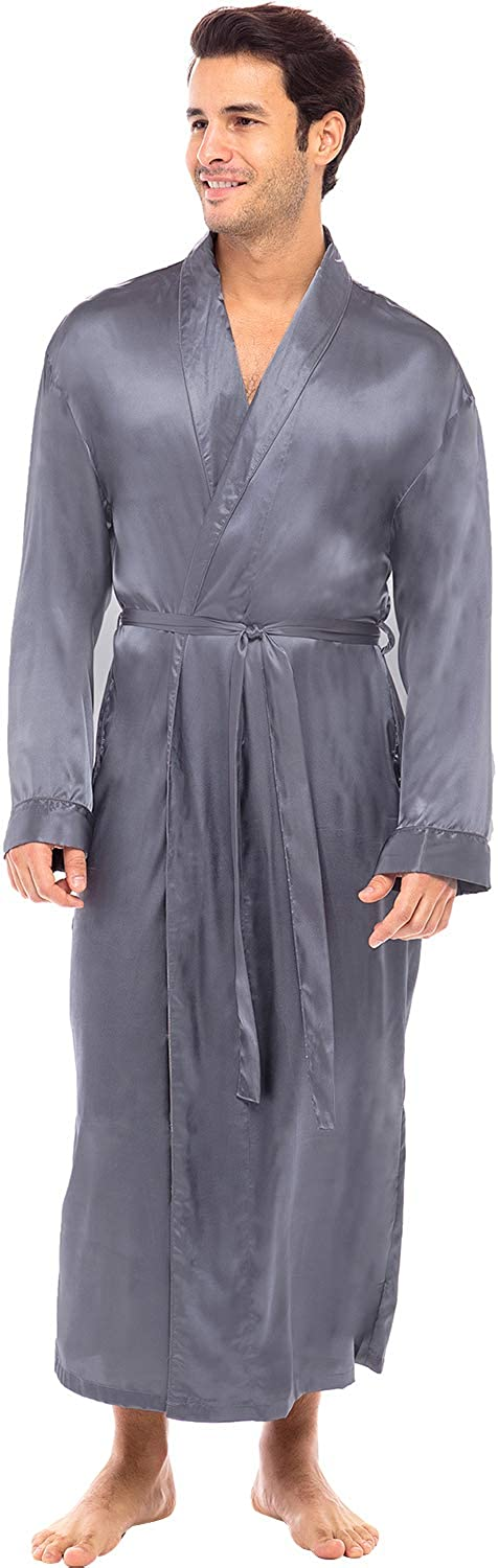 Alexander Del Rossa Men's Lightweight Satin Robe, Long Kimono