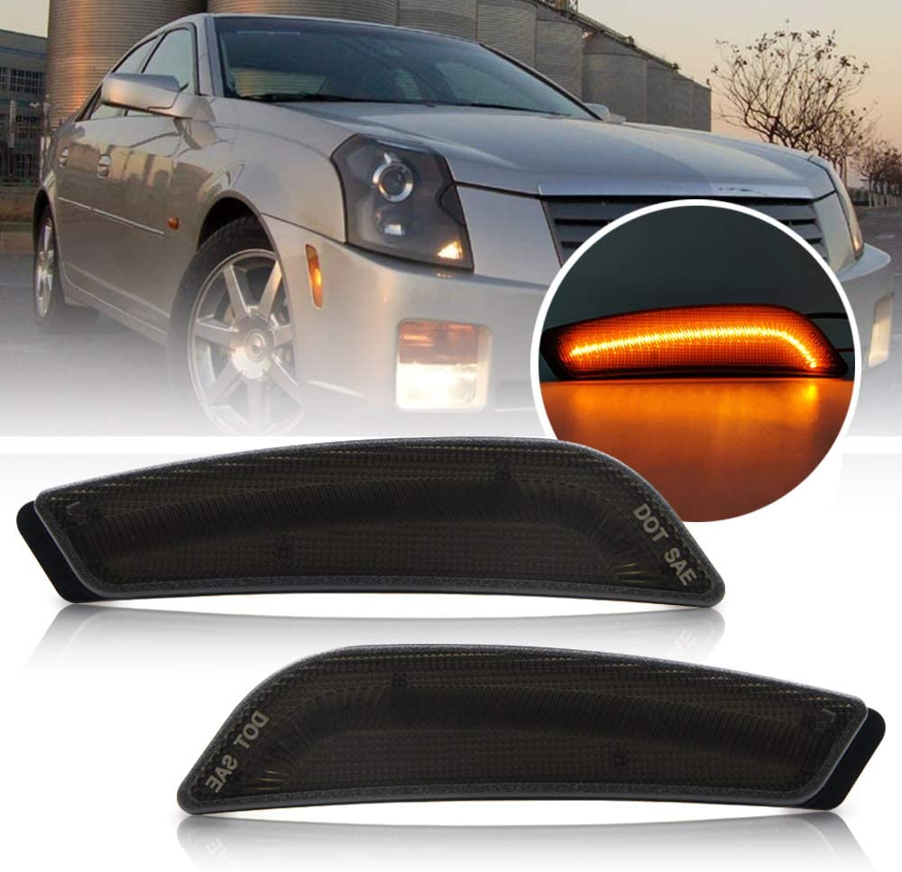 LED Front Side Marker Lamps for 2003 2004 2005 2006 2007 Cadillac CTS//CTS V Smoke Lens LED Turn Singal Light Kits Powered by 30-SMD LED OEM Sidemarker Lamps Replacement