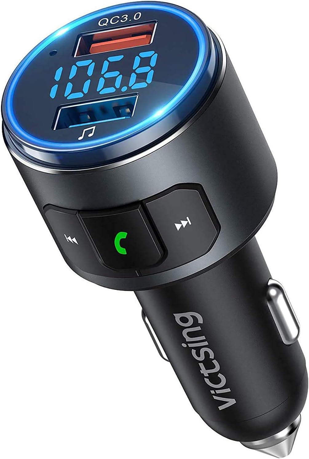 Transmisor FM Bluetooth 5.0 para Coche, [Luz LED Anillo] QC3.0 VicTsing Mini Transmisor Bluetooth Manos Libres con Siri Asistente, Reproductor MP3 ...