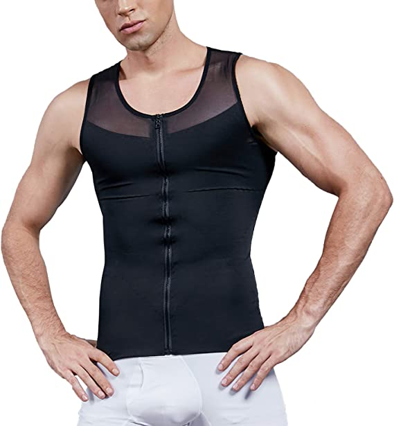 Vphancy Fitness Sleeveless Tops Men Compression Vest Undershirt Body Shaper for Men Compression Top Compression Figure-Forming Muscle Tank Top for Gym Bodybuilding Weight-training Sports Running