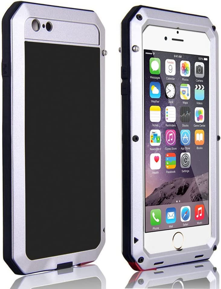 CarterLily Shockproof Dustproof Water Resistant Aluminum Armor Full-Body Protection Case for iPhone 6 Plus/iPhone 6S Plus (Silver)