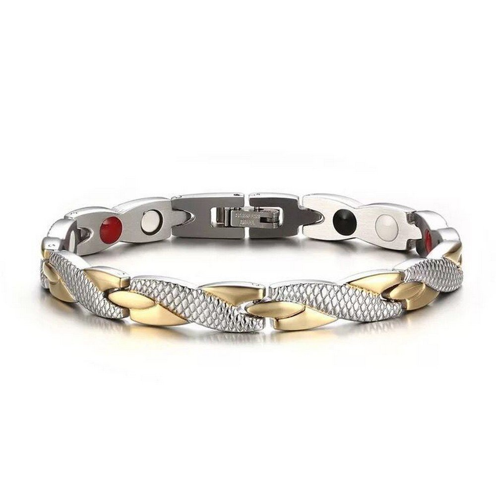 Gold Silver Titanium Steel Magnetic Therapy Health Link Bracelet Men Women by HiTreasure