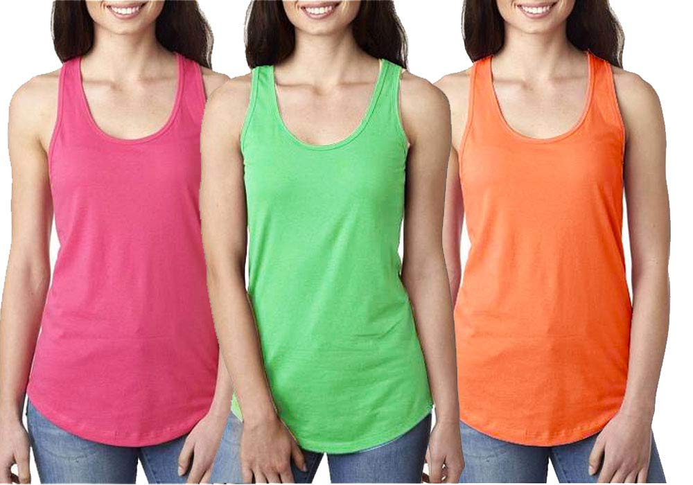 Epic MMA Gear Fitness Tank Top, Workout Tanks, Racerback Bundle of 3 (XS, Pink/Green/Orange)