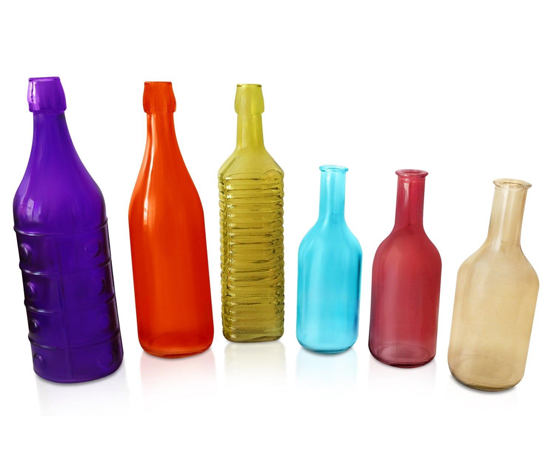 Amazon Com Colored Glass Bottles 6 Piece Colorful Decorative