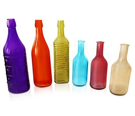 colorful bottles 6 piece colored bottle set for outdoor garden bottle tree or indoor home - Colored Glass Bottles