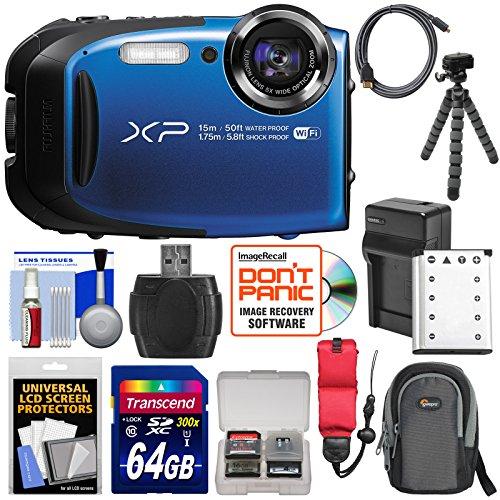 Fujifilm FinePix XP80 Shock & Waterproof Wi-Fi Digital Camera (Blue) with 64GB Card + Battery & Charger + Case + Flex Tripod + Strap + Kit