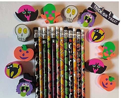 Bulk Halloween Themed Pencils and Erasers - 24 Count (Halloween Themed Pencil Drawings)