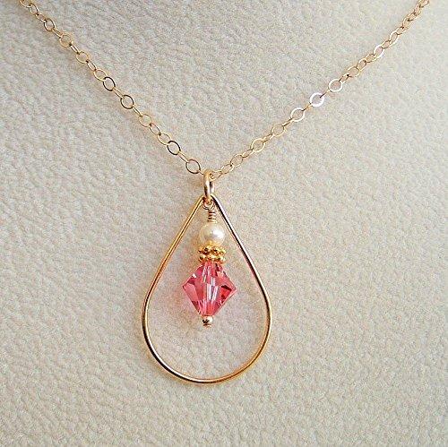 Ring Framed Rose Gold (Rose Pink Swarovski Elements Crystal Teardrop Frame Pendant 18