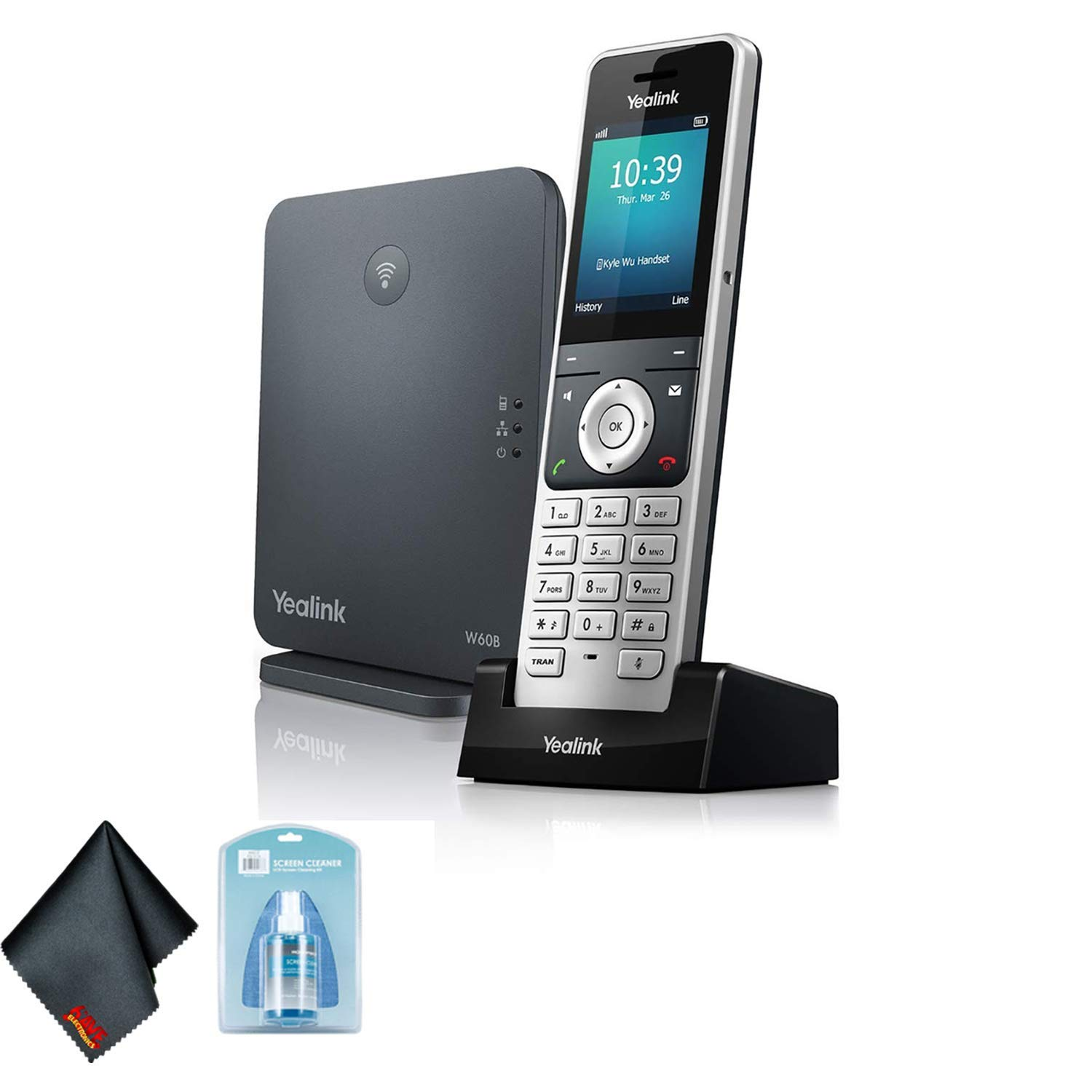 Yealink W60P Wireless DECT IP Cordless Office Phone and Base Station with 6AVE Universal Screen Cleaner by Yealink