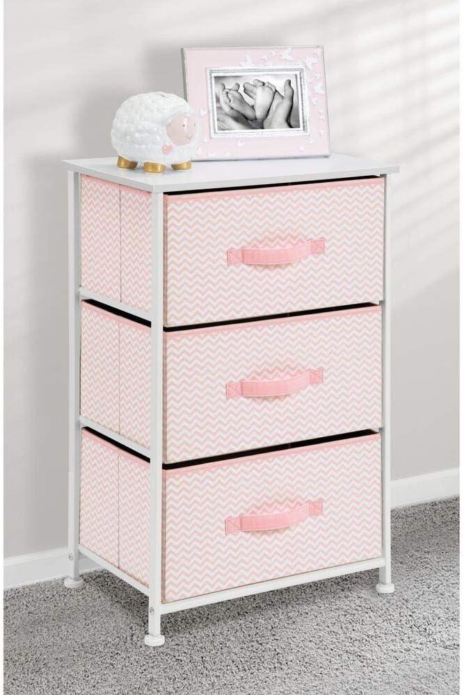 mDesign Vertical Dresser Storage Tower – Sturdy Steel Frame, Wood Top, Easy Pull Fabric Bins – Organizer Unit for Child Kids Bedroom or Nursery – Chevron Zig-Zag Print – 3 Drawers – Pink White