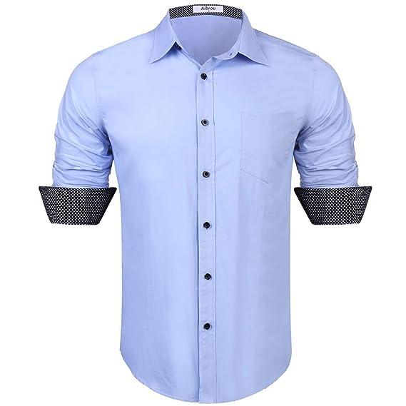 Aibrou Camisa Hombre Manga Larga Camisas Formales Negocios Camisa de Vestir Hombre de Algodón Regular Fit Talla Grande