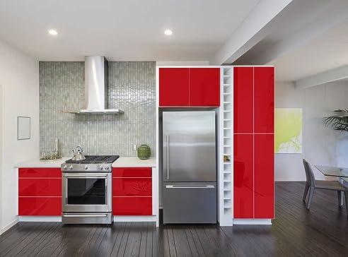 INDIGOS UG - Aufkleber für Küchenschränke 63x500cm GLANZ - rot ...