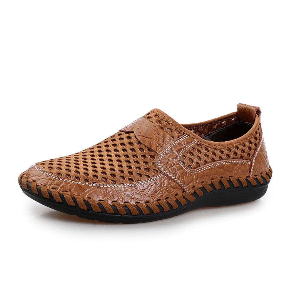 UPIShi Mesh Breathable Men Flats Casual Driving Moccasin Leather Loafers Lightweight Stitching Shoes Brown 47