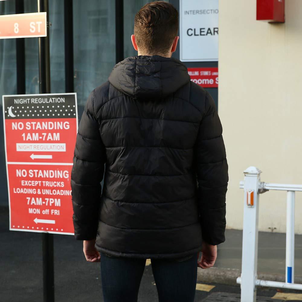 Mens Down Jacket,Winter Durable Hooded Padded Coat Boys Full Zip Outwear Puffer Coat Zulmaliu