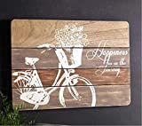 Pack of 4 Decorative Wooden Happiness Bicycle Plaque