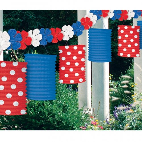 American Summer Red, White and Blue Paper Lantern Garland - 12
