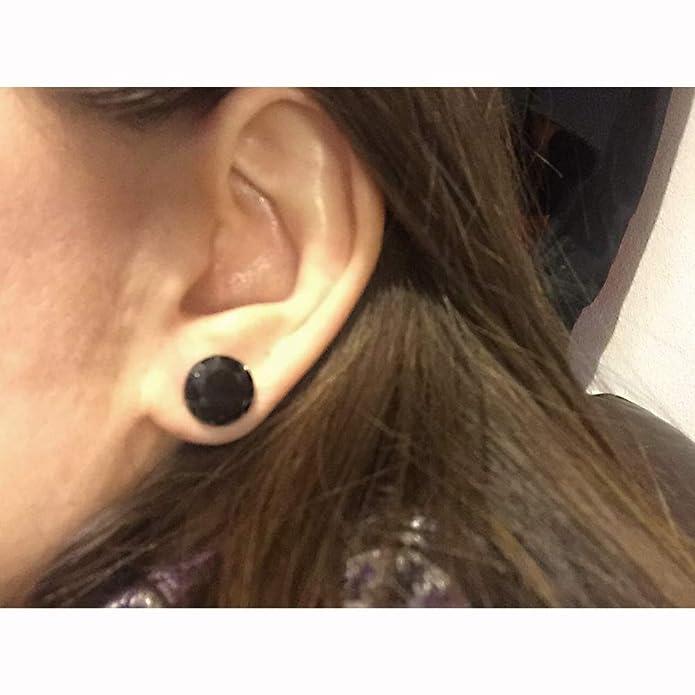 ZeSen Jewelry Negro Piedra CZ Oído medidores de Acero ...