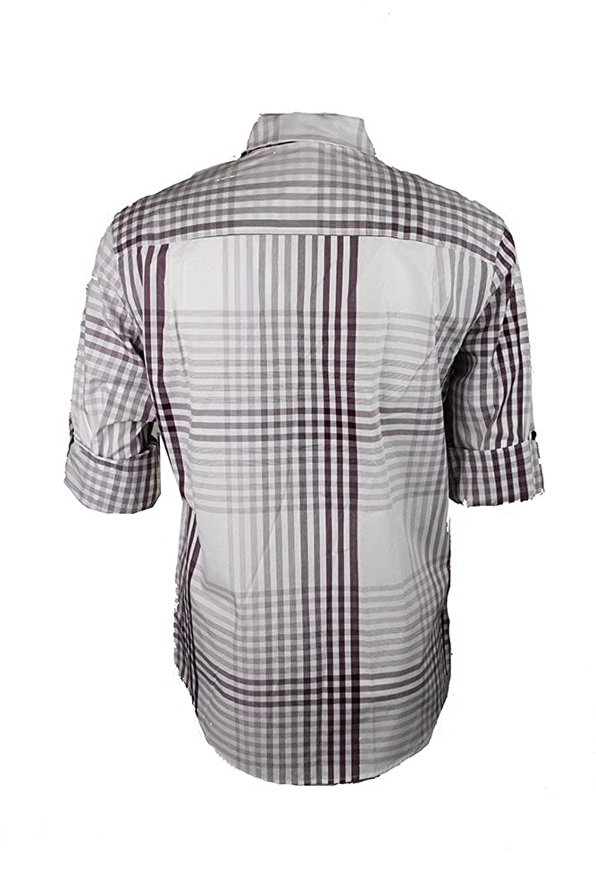 Alfani Plum Roll-Tab-Sleeve Plaid Shirt S