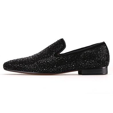 9650bea90ef Crystals Black Suede Velvet Loafer Flat Men s Slip-on Shoe (6