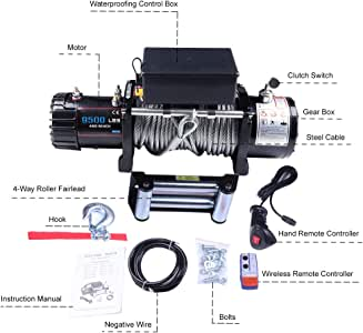 85ft OPENROAD 9500lbs Electric Winch,12V Truck Winch with 26m Synthetic Winch Rope,Wireless Remote Control Waterproof Receovery Winch Kit,Trailer Boat 4WD Accessories Offroad