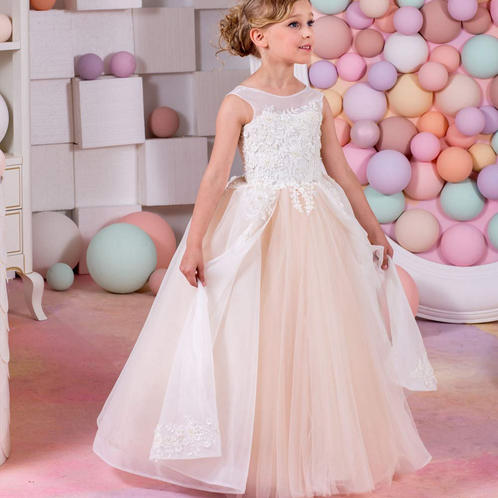 10-11T YuFLangel Robes de soirée pour Fille Robe de mariée en Dentelle sans Manches pour Enfant Robe de Demoiselle (Taille   2-3T)
