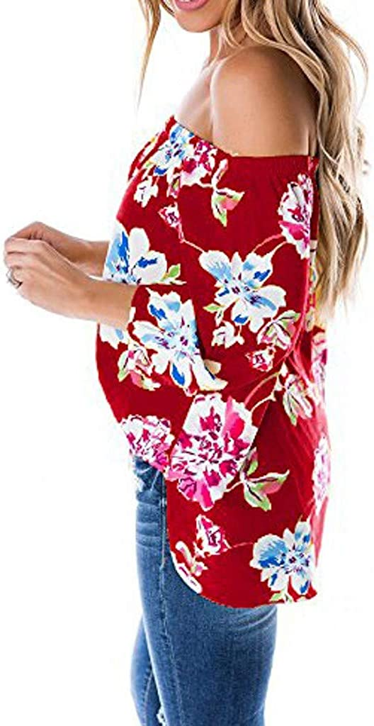 Tank Tops for Women Off Shoulder Long Sleeve Blouse Floral Print Knot Tie Front Chiffon Shirt Tops ODGear