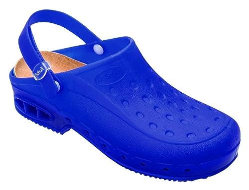 minorista online a50df 4b42c Dr. Scholl - Zuecos de Caucho para Mujer Azul BLU Fluo Azul ...