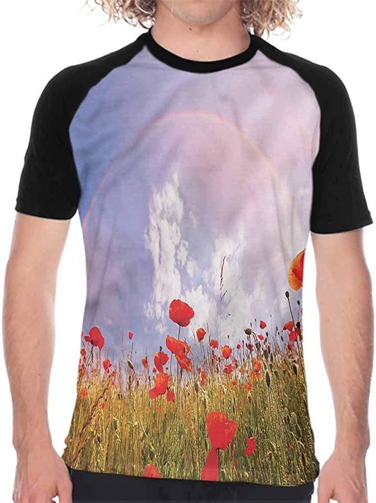 Poppy,Graphic T-Shirt Cartoon Poppy Fresh Art,Mens Baseball Tee