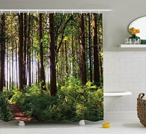 Farm House Decor Shower Curtain Set By Ambesonne, Pathway In A Shady Forest  Of Bushes And Thick Trunks Grass Unique Wild Life Scenery, Bathroom  Accessories, ...