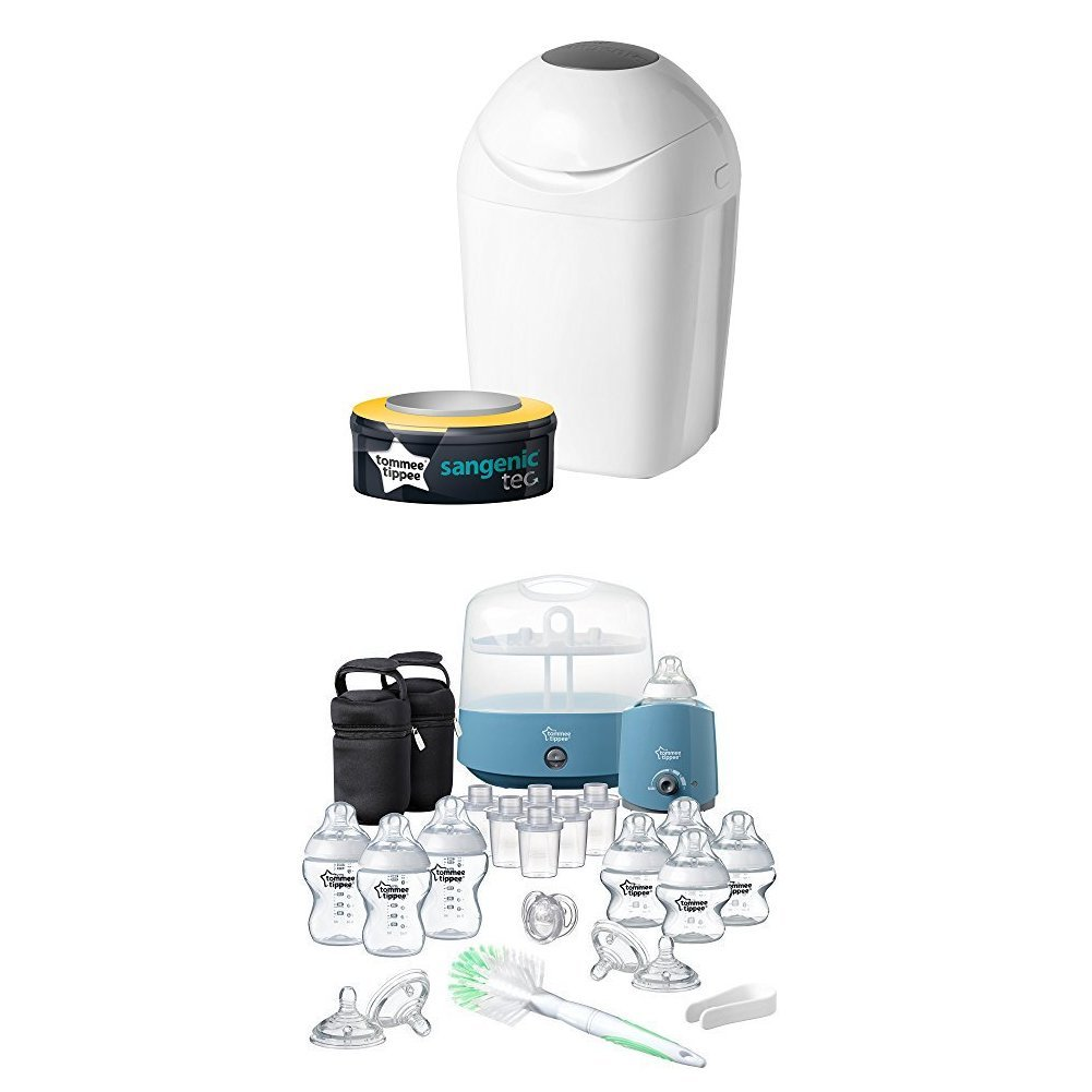 White Tommee Tippee Sangenic Tec Nappy Disposal Tub with Complete Feeding Set Bundle