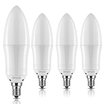 yiizon E12 LED vela bombillas 12 W 1200 lm 100 W bombillas incandescentes equivalente 6500 K