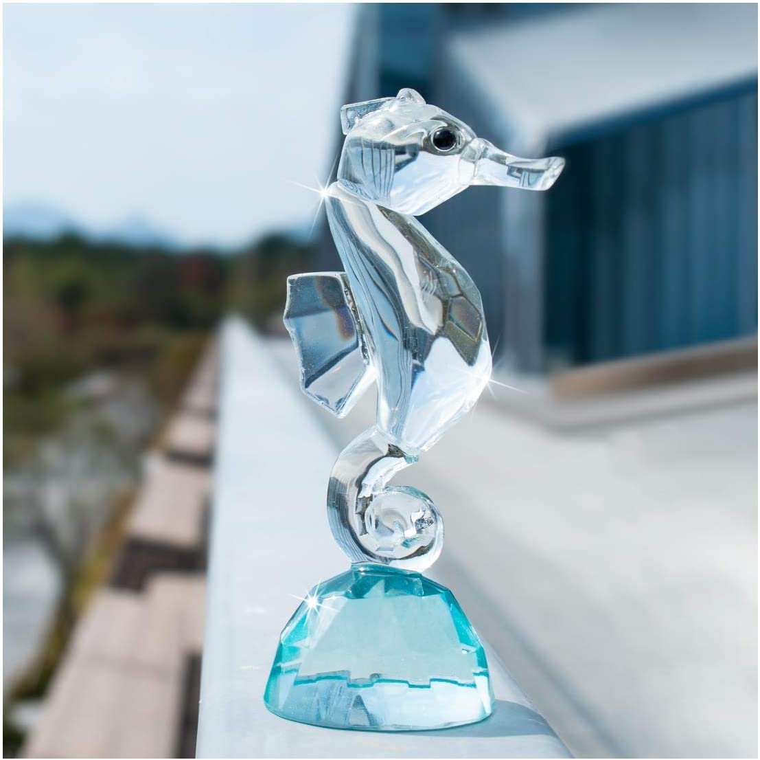 H&D Small Crystal Glass Seahorse Figurine Crystal Hippocampi Ornament for Home Office Decor (3.7-inch)