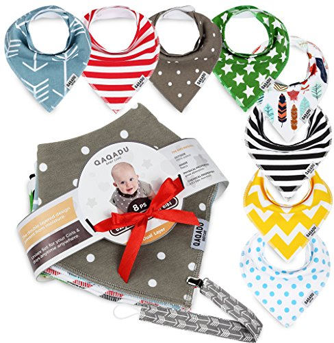 Baby Bandana Drool Bibs - 8 Bib Gift Unisex Set - For Boys and Girls - Perfect for Newborns, Infants and Toodles - Organic Cotton Great for Drooling and Teething - Pacifier Holder as (Mud Pie Little Sprout)