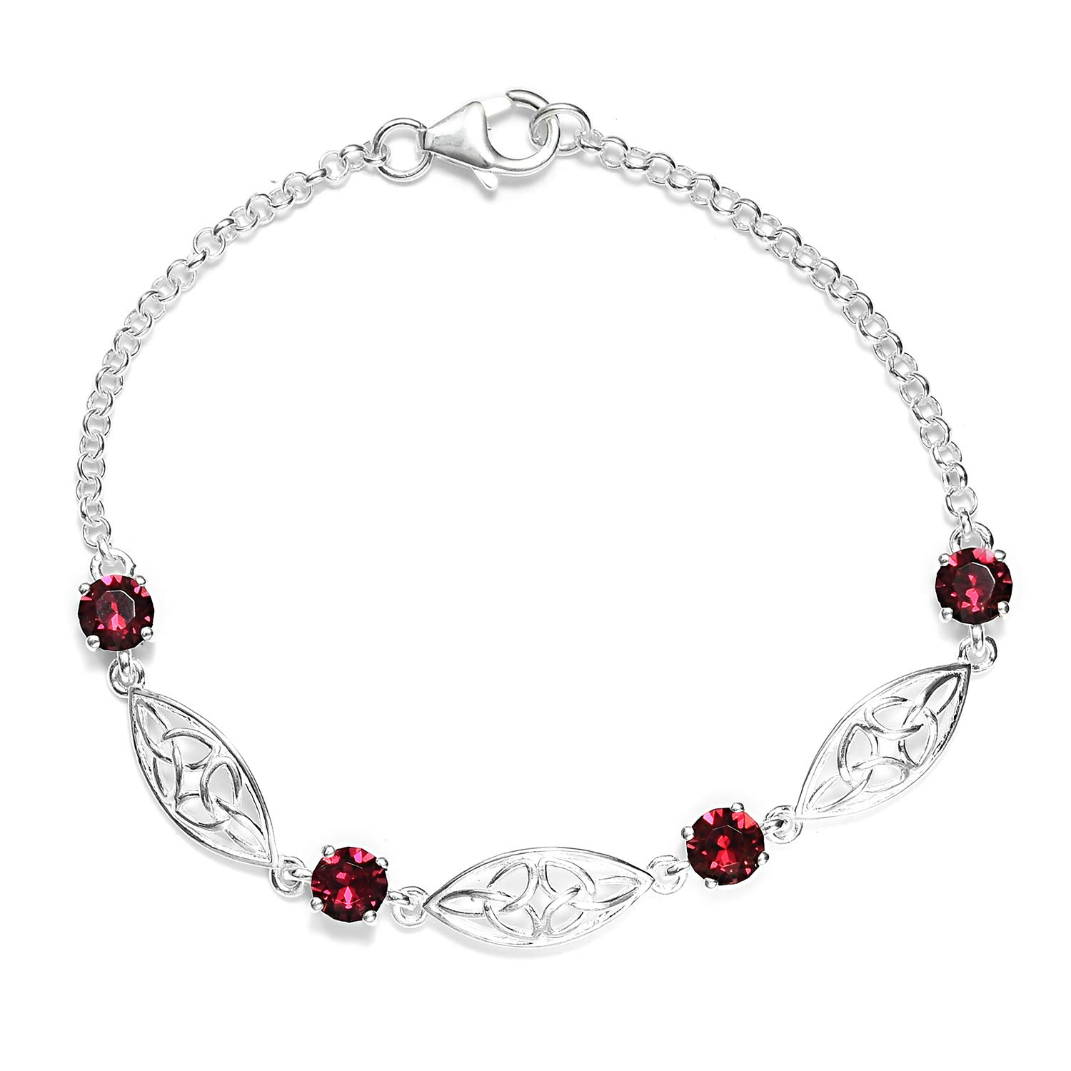 925 Sterling Silver Made with SWAROVSKI Round Ruby Crystal Bolo Bracelet for Women Hypoallergenic Jewelry Size 7.25'' Cttw 1.4
