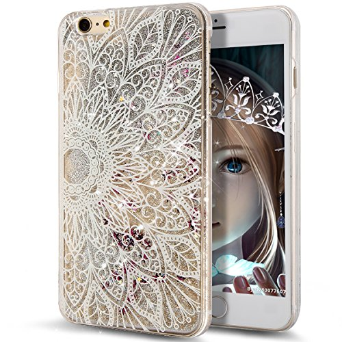 iPhone SE Case,iPhone 5S Case,iPhone SE Liquid Case,NSSTAR Creative Design Flowing Liquid Floating Bling Glitter Sparkle Silver Stars Hard Case for iPhone SE & iPhone 5S 5,Mandala Floral Flower #2
