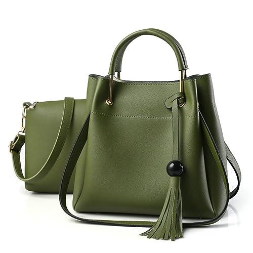 08af9ec85a27 OVOV Women's 2 Pcs Retro Tote Bag PU Leather Shoulder Bag Crossbody Purse  Handbags Set