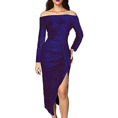 Vestito Donna Senza Spalline Abito Sexy Eleganti Lustrino Vestiti Midi  Manica Lunga Ragazza Cocktail Festa Slim 9fad4a0546f