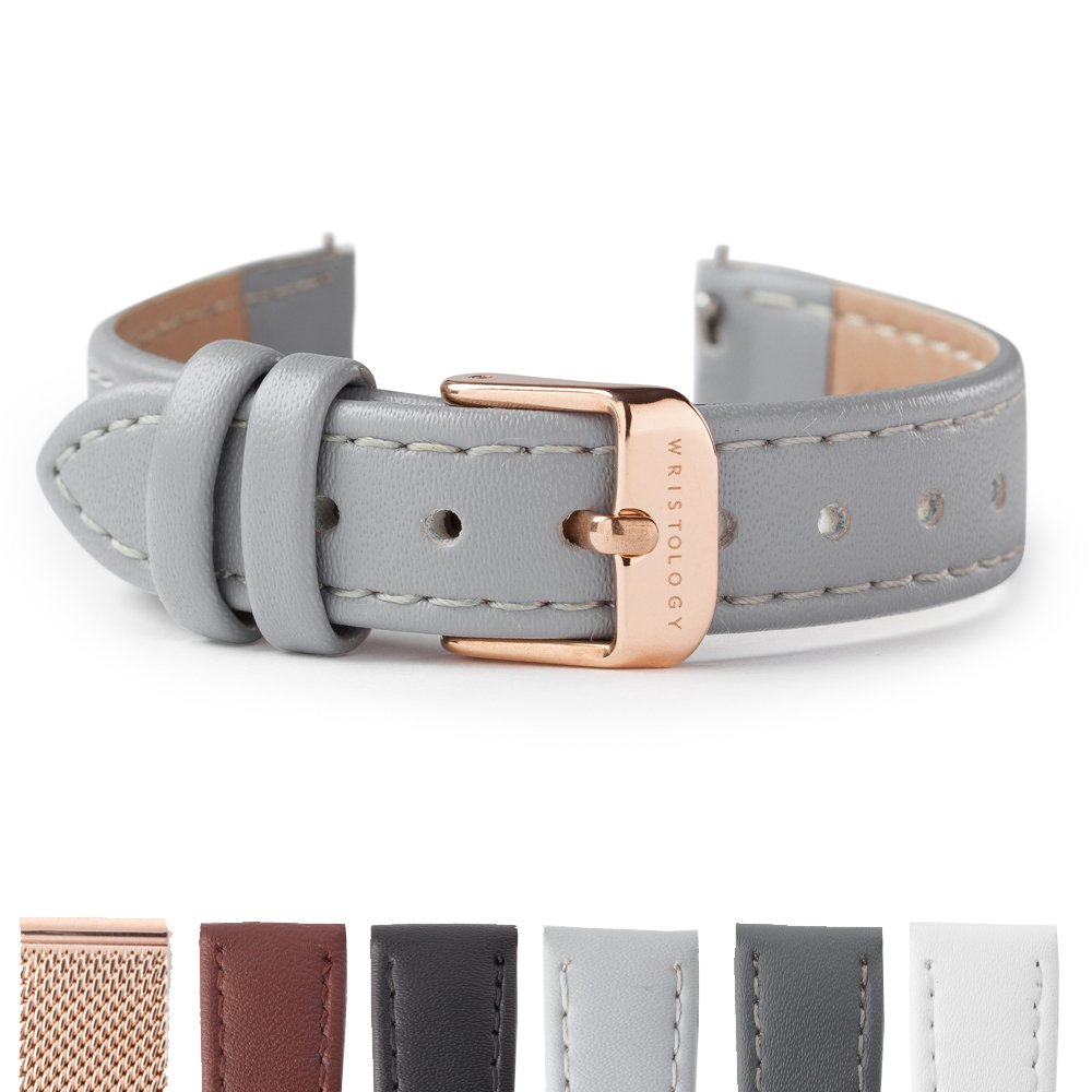 WRISTOLOGY 14mm Grey Womens Rose Gold Easy Leather Interchangeable Watch Band (RG)