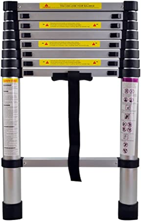 Mctech/® Folding Aluminium Telescopic Ladder 2.6/ 5/m Multi-Function Ladder Aluminium Ladder Timber Folding Loft Ladder 150/kg Load Capacity