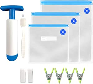 Sous Vide Bags 30 Reusable Vacuum Food Sealer Bags with pump for Anova Joule Cookers,3 sizes Sous Vide Bag Kit with 2 sealing clips 4 Sous Vide Bag Clip a brush for food storage and cooking …