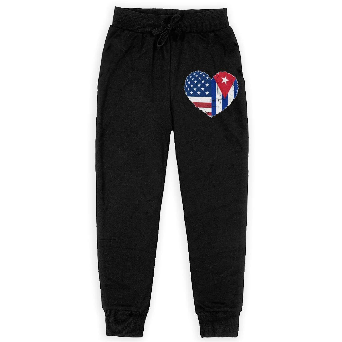 Boys Athletic Pants for Teen Girls WYZVK22 Cuba USA Flag Heart Soft//Cozy Sweatpants