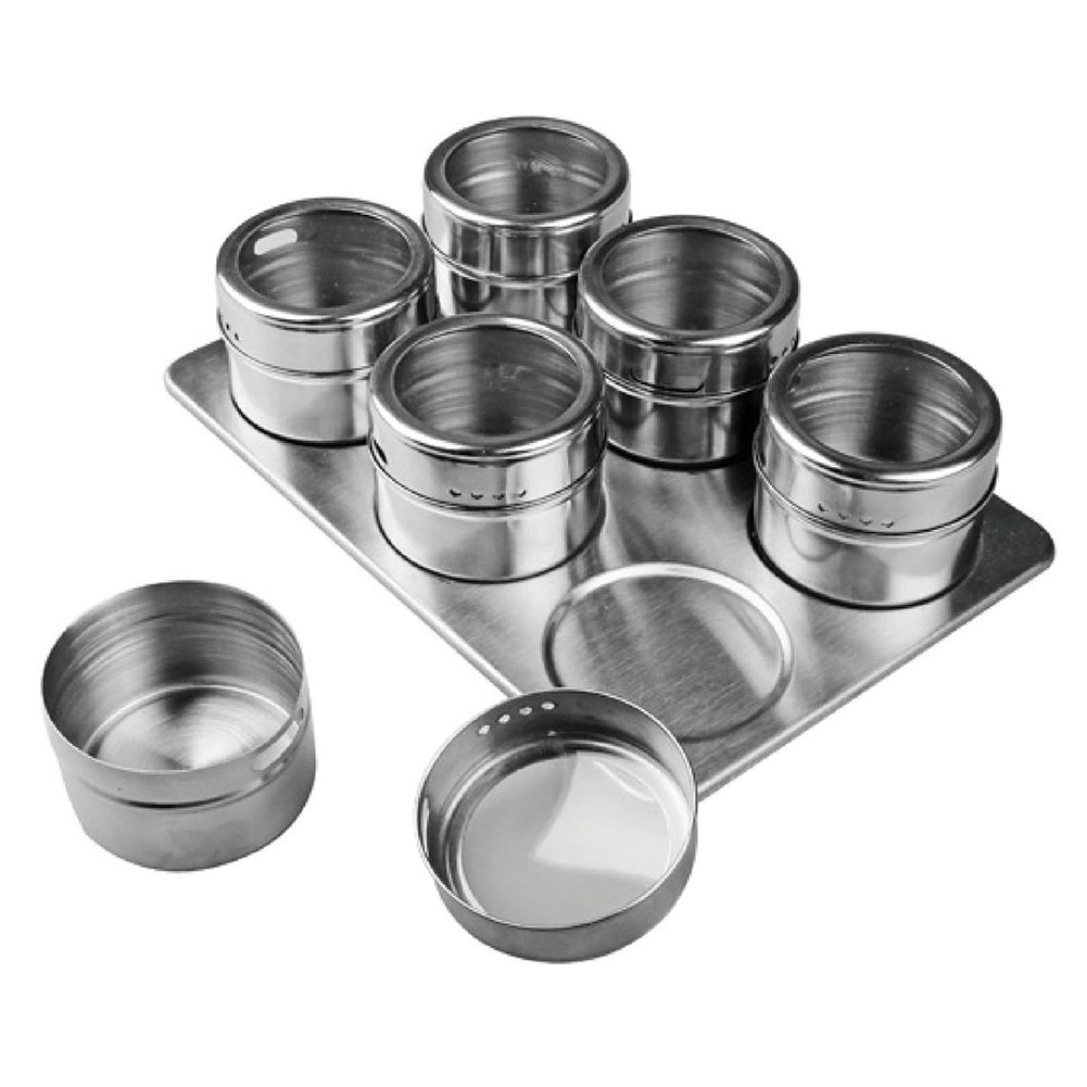 Zehui Seasoning Pot Stainless Steel Magnetic Spice Storage Container with Rack Holde Fashion Healthy Multi Use 6 Pcs
